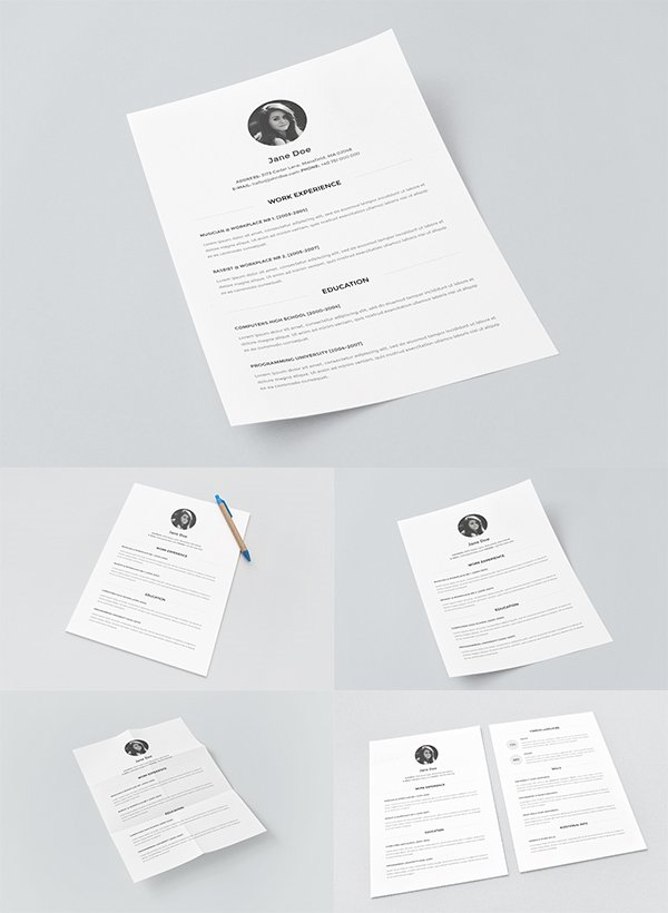 Resume Template with Paper Mockups