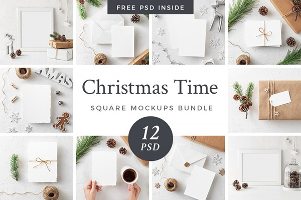 Christmas Mockups Bundle + Freebie