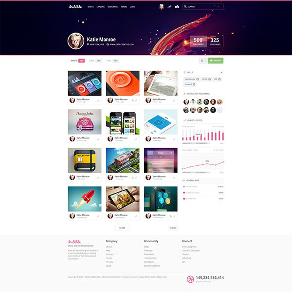 Dribbble Profile Redesign