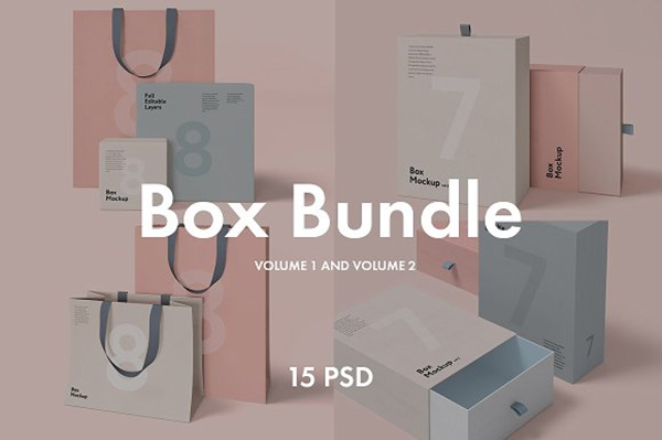 Box and Bag Mockup Bundle - 15psd