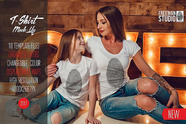 Family T-Shirt Mock-Up Vol.1 2017 - 10 Templates