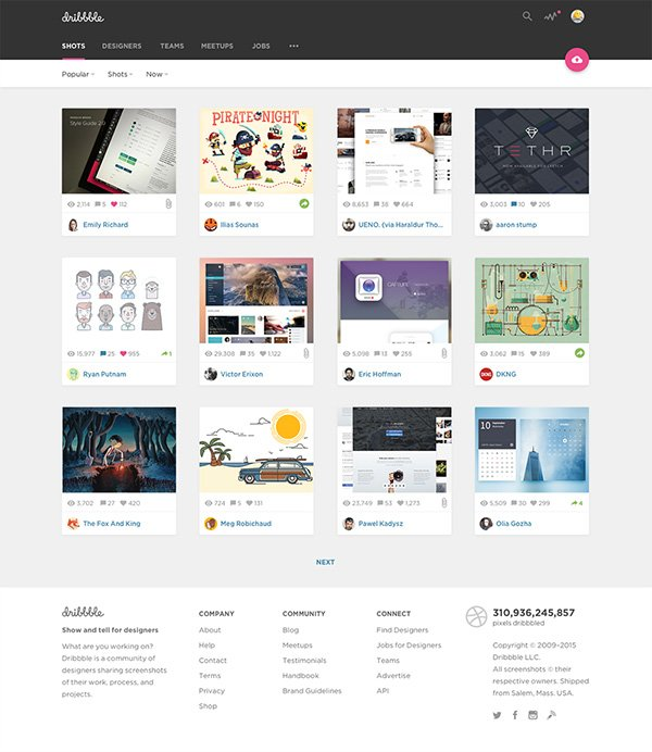 Dribbble Material Redesign
