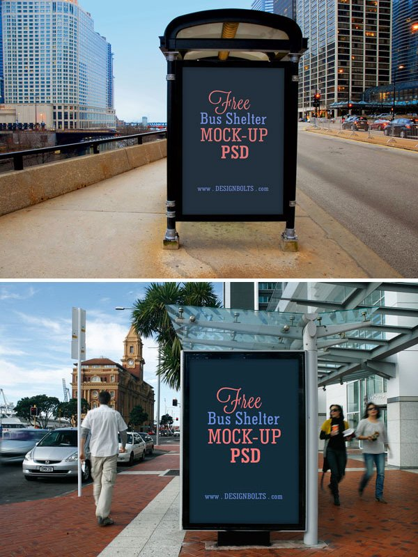 Free Bus Shelter Side Panel Outdoor Advertising Poster Mock-up PSD