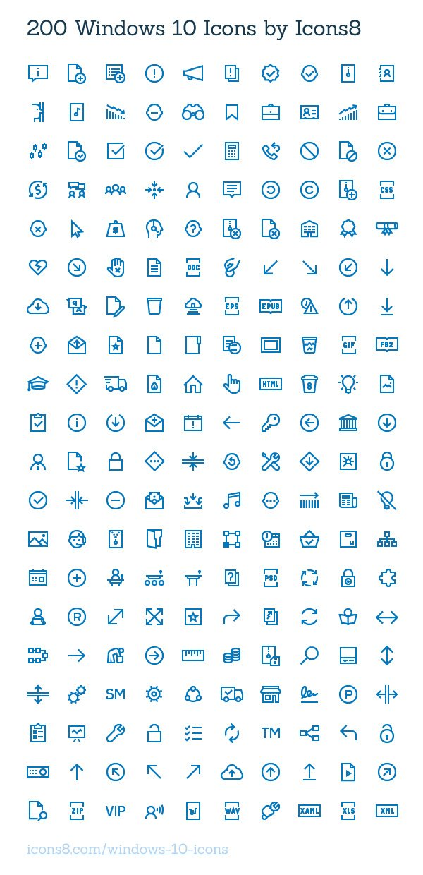 200 Windows 10 Icons