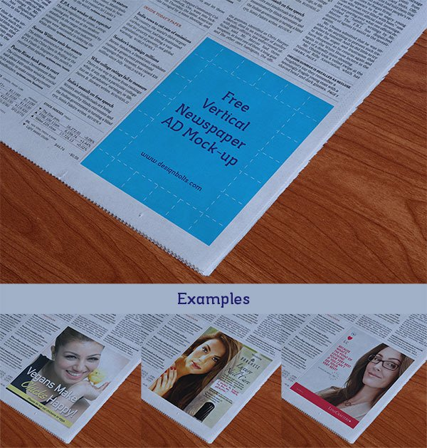 Newspaper Vertical Ad Mockup PSD