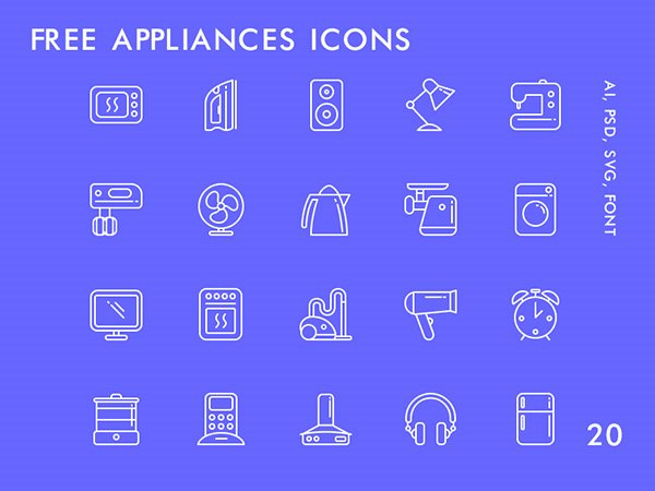 20 Free Appliances Icons