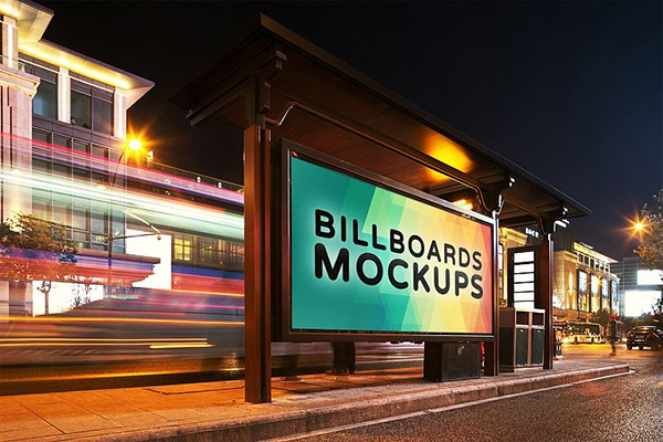 Billborad Mockups at Night Vol.1 - 12 Mockups
