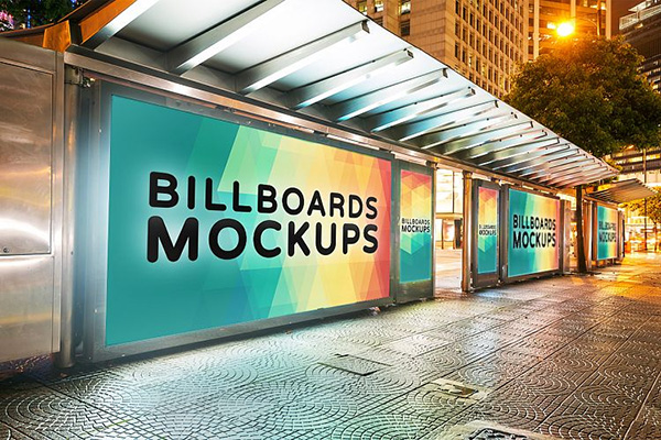 Billborad Mockups at Night Vol.2 - 12 Mockups