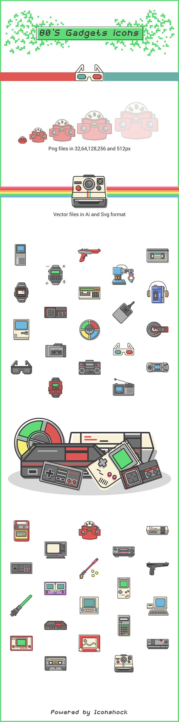 80s Gadgets – 40 Free Icons