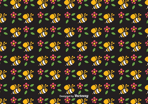 Cute Bee Vector Seamless Pattern
