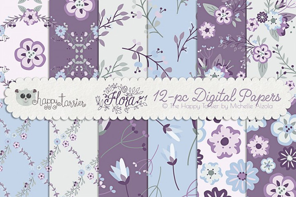 Flower Digital Papers and Seamless Pattern Designs