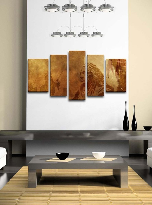 Brown Native American Chief Worriors - 5 Panel Wall Art