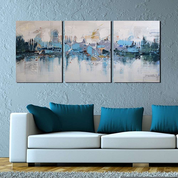 Blue Villages - 3-Piece Gallery-Wrapped Wall Art