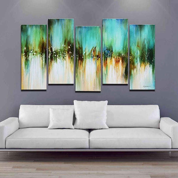 Blue Skies - 5-piece Gallery-wrapped Abstract Oil Painting
