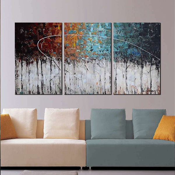 Color Forest - 3-Piece Gallery-Wrapped Abstract Oil Painting