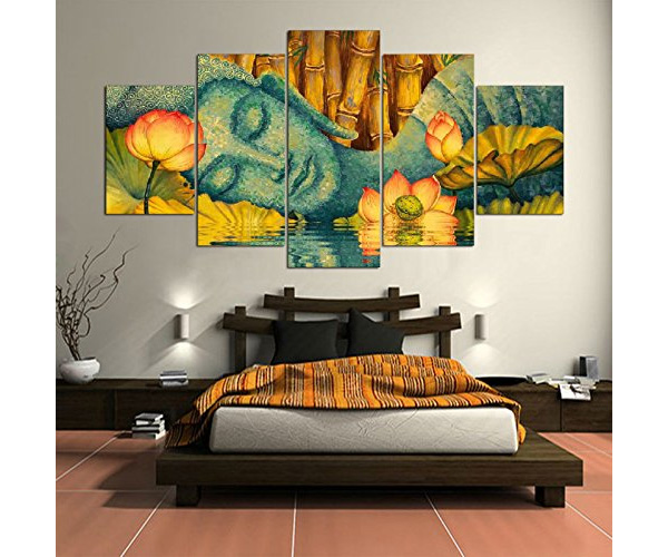 Buddha And Flower Painting - 5 Piece Wall Art