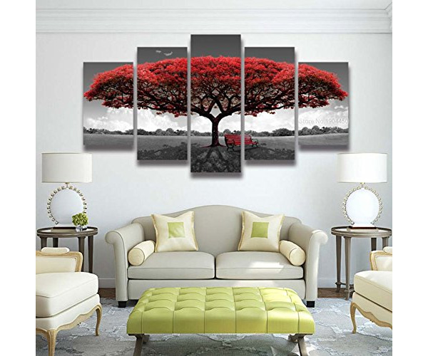 Red Tree Art - 5 Pannel Wall Decor