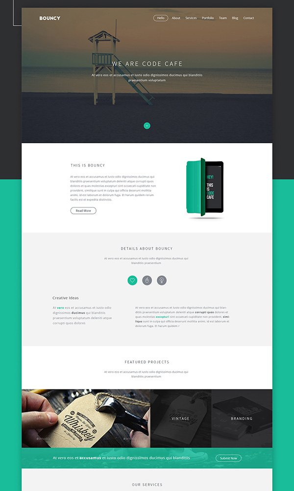 Bouncy - One Page Digital Agency Template