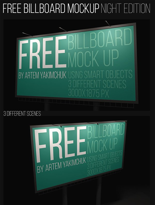 Night Billboard Mockup