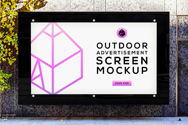 Free Outdoor Advertising Screen Mockup 4