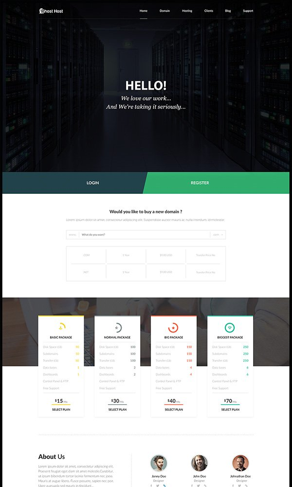 Ghost Host PSD Template