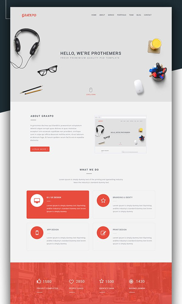 201 amazing free psd website templates for E portfolio templates free