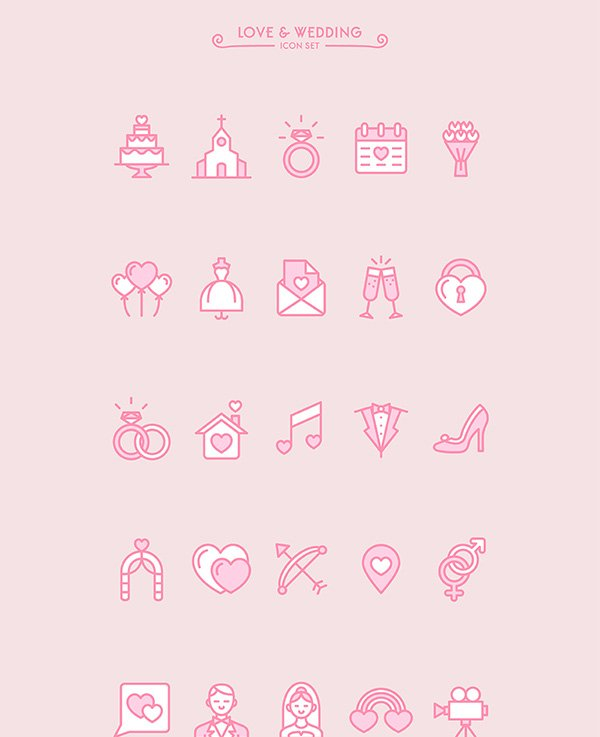 Love & Wedding icon set