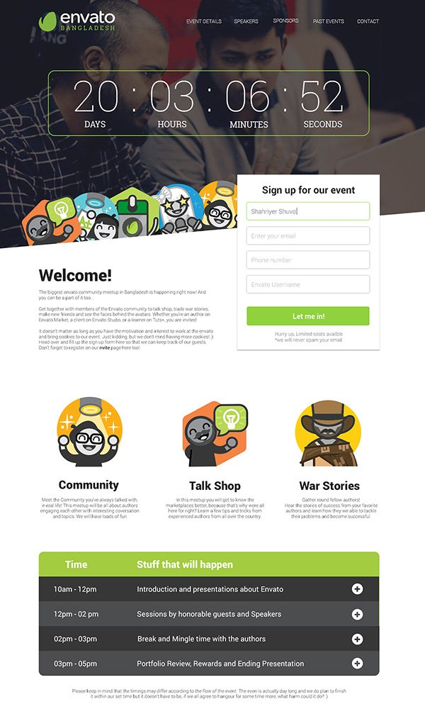 Meetup - Event Landing Page