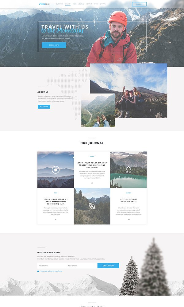Mountains Landing Page PSD