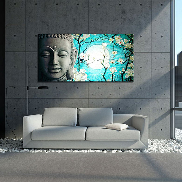 Religion Buddha And Flowers In sun Wall Art Painting