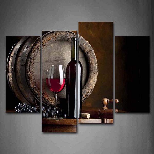 Wine And Fruit With Glass And Barrel - Wall Art Painting