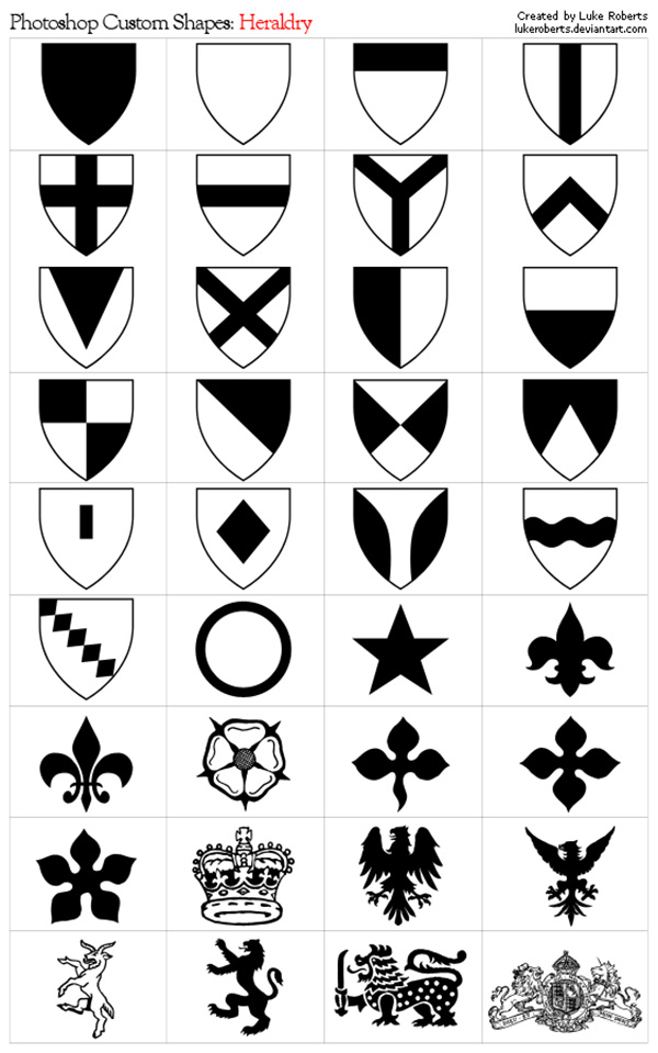 Photoshop Shapes: Heraldry