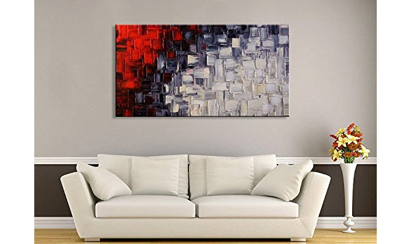 SeekLand Red and White Large Abstract Canvas Wall Art