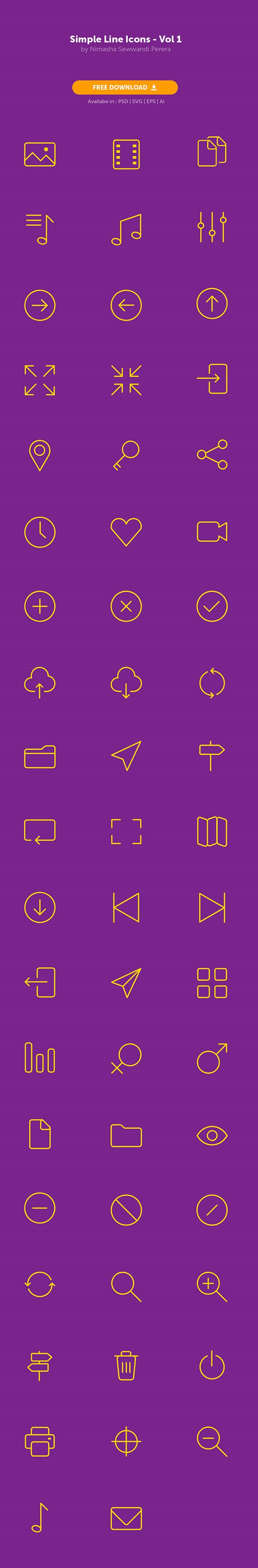 Simple Line Icons - Freebie