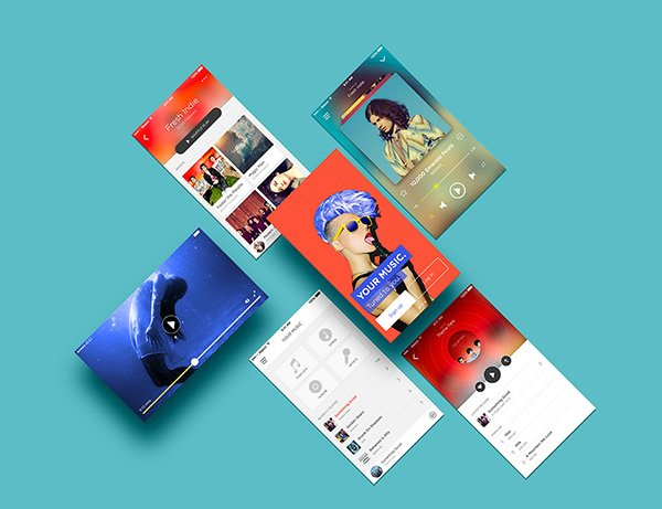 Multiple App Screens Mockup