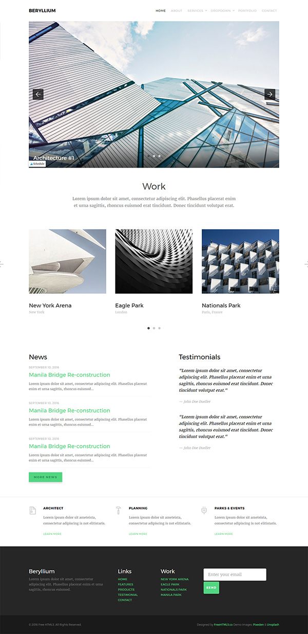 Beryllium: Free Architect Template