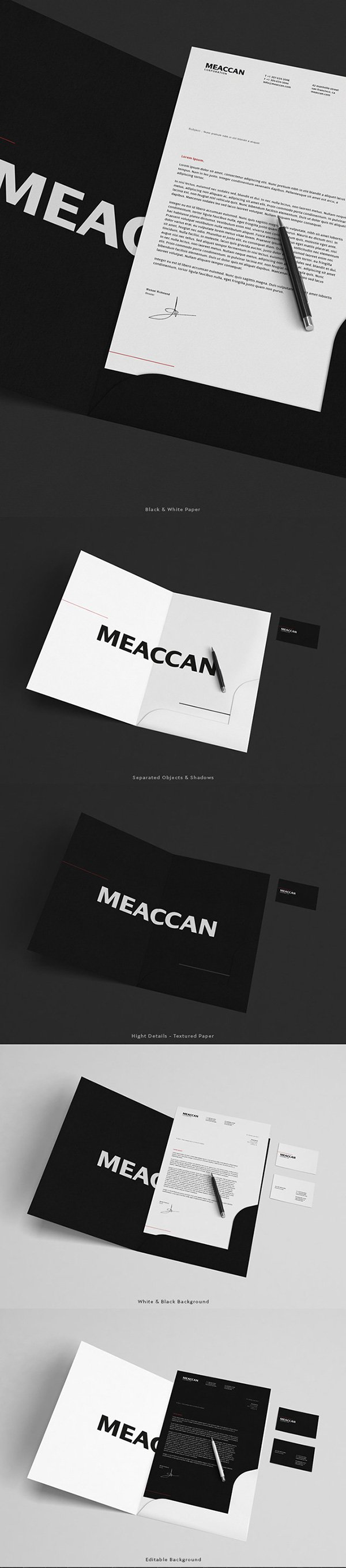 Black & White Stationery Mockup