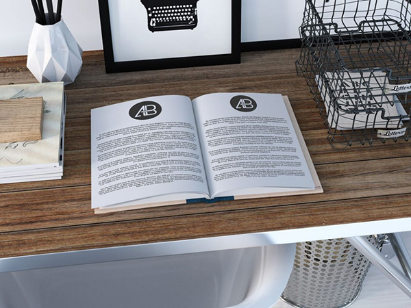 Book on Desk - Free Mockup