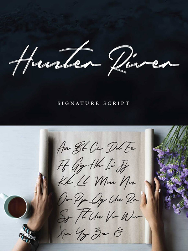 Hunter River - Free Calligraphy Brush Font