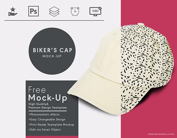 Bikers Cap Free Mock Up Template