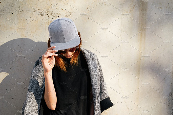Female Model wearing Gray Cap Mockup