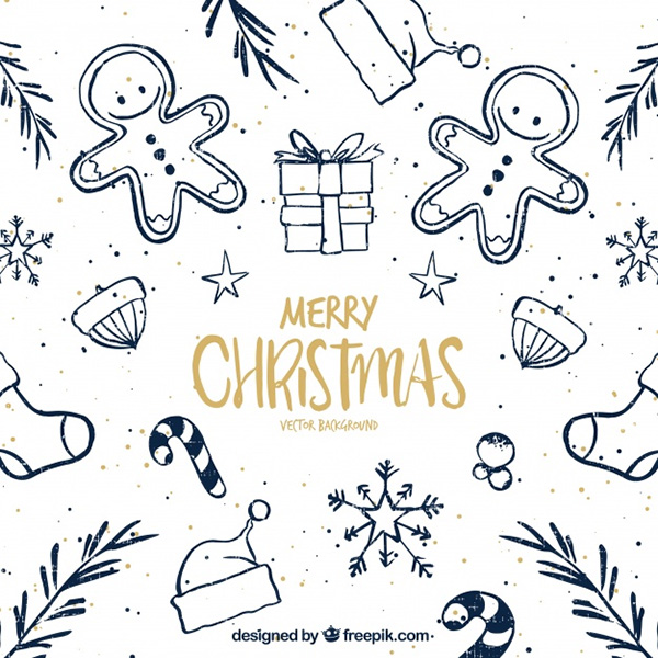 Pretty Christmas Sketches Background - Free Vector