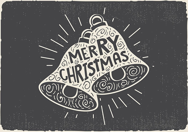 Free Vintage Hand Drawn Christmas Bell With Lettering