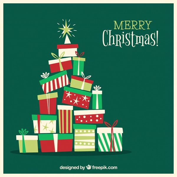 Christmas Tree Out of Gift Boxes - Free Vector