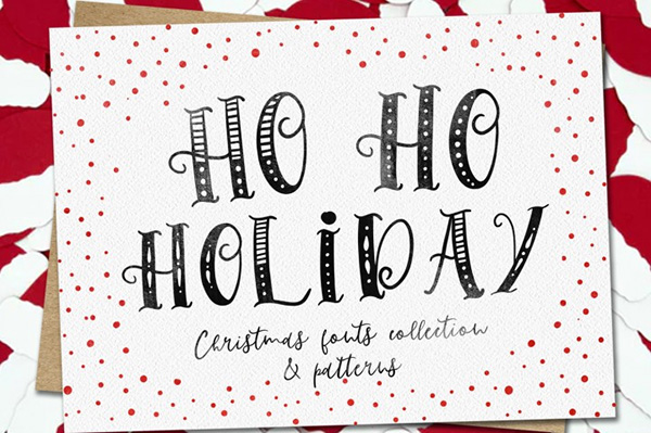 Ho Ho Holiday Fonts Collection & Patterns