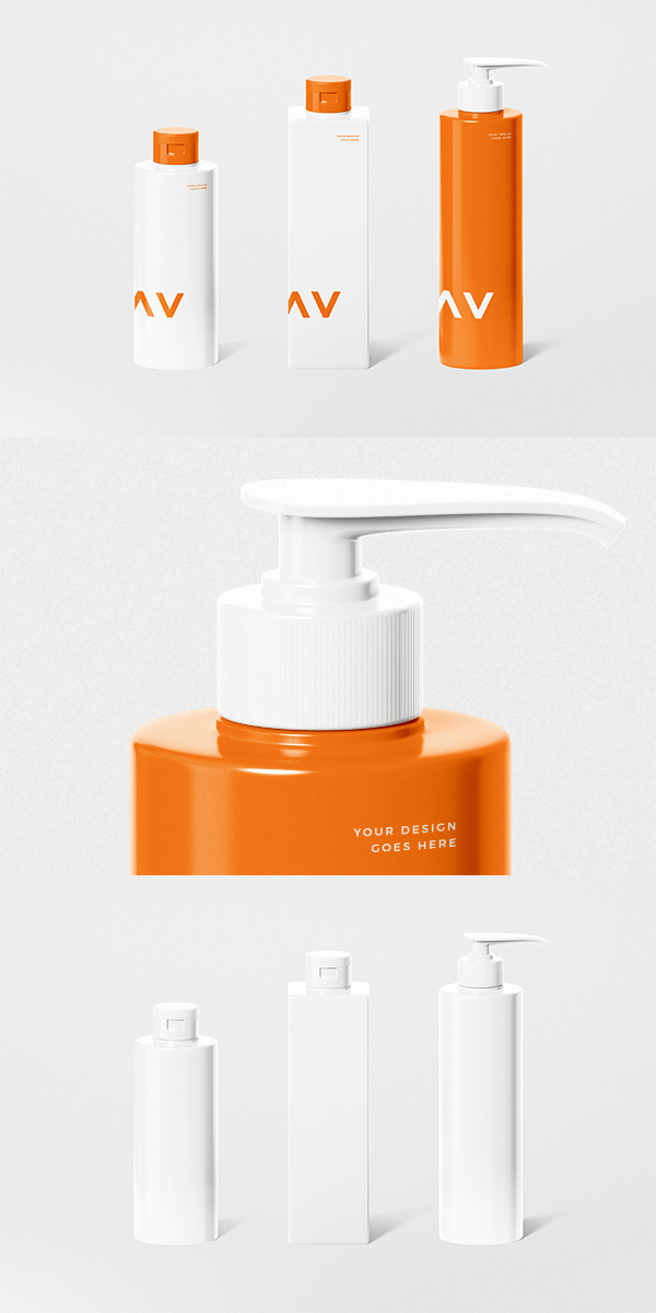3 Bottles Cosmetic Mockup Set
