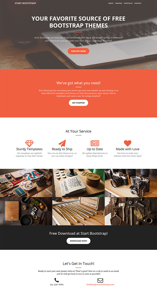 51 free bootstrap themes templates a one page bootstrap theme with flexible options for creative portfolios and businesses download cheaphphosting Choice Image