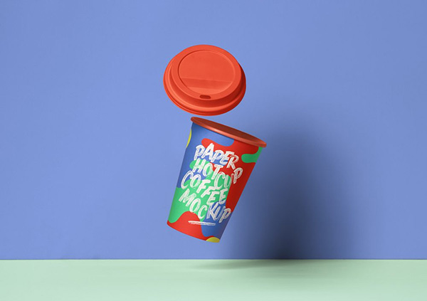 Gravity Paper Coffee Cup - Free Mockup PSD