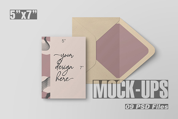 5x7 inch Postcard and Envelope Mock-Ups
