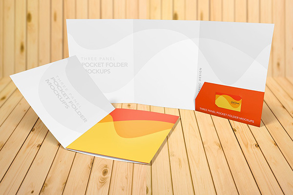 Three Panel Presentation Folder 9x12 - 4 Mockup Scenes